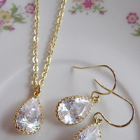 Teardrop Sparkle Earrings Necklace Set - Gold - Wedding Jewelry Bridal