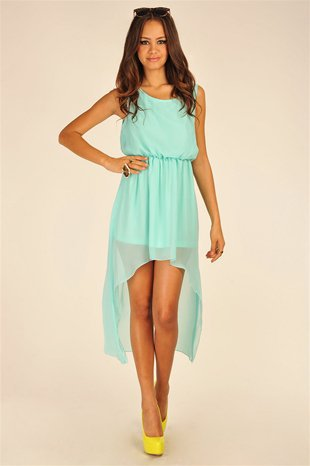 Maxi Chiffon Asymmetrical Sleeveless Dress with Cutout Back