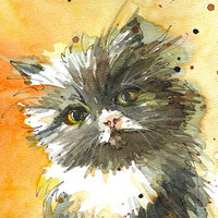 Custom Pet Portrait - Original watercolor portrait of your pet 8x10 inches