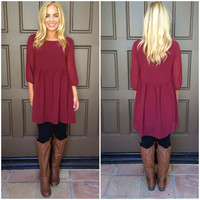 Nothing To Lose Baby Doll Dress - BURGUNDY