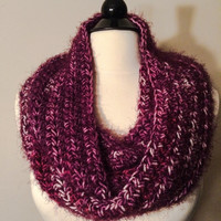 Fuzzy infinity scarf, purple scarves, loop scarf, women's accessories, winter wear