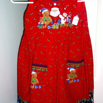Christmas dress Snowman Teddy Bear Santa Holly on Red cotton jumper Size 6 Holiday apparel clothing outfit