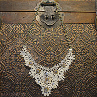 Life Of Luxury Ivory Floral Lace Necklace