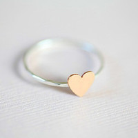 Just a tiny heart ring - sterling silver ring with a gold filled tiny heart