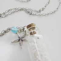 Beach Pendant Necklace - Sand in a Bottle - Silver Shell  - Beach Wedding - Bridesmaids Gift