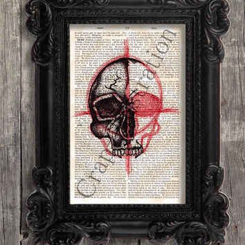 ONE FOR SALE 'Hand drawn' pointillism Skull on Old vintage 1880 encyclopedia pages - like vintage dictionary - This is not a print