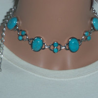 Natural turquoise choker with feather charm