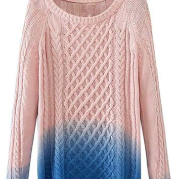 Classic Dip-Dye Cable Sweater - OASAP.com