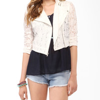 Lace Cropped Moto Jacket