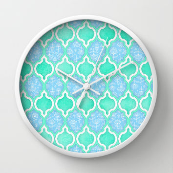 Moroccan Aqua Doodle pattern in mint green, blue & white Wall Clock by micklyn