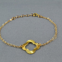 Quatrefoil Clover Bracelet, Gold Vermeil Style, 14K Gold Filled Double Chain, Modern, Simple, Beautiful Metal Bracelet