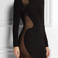 Stella McCartney - Mesh-paneled stretch-cady mini dress
