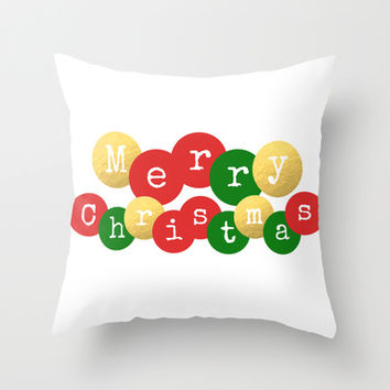 Merry Christmas baubles in red, gold and green. Throw Pillow by Prints Of Heart