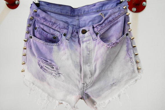 "High wasited distressed and studded deep dye ombre purple vintage levis cut offs  size 30"" waist"