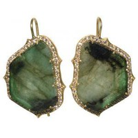 33 Carat Emerald & Diamond Dangle Earrings