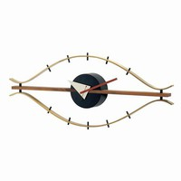 George Nelson Classic Brass Eye Clock With Wood Trim Control Brands Wall Mounted Clock Clo