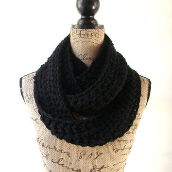 Black Cowl Scarf Fall Winter Women's Accessory Infinity Scarf