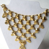 Vintage Bib Statement Necklace Goldtone Coins and Flowers
