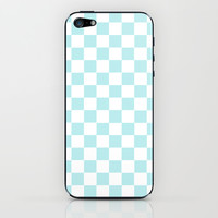 Turquoise Aqua Blue Checkers iPhone & iPod Skin by BeautifulHomes | Society6