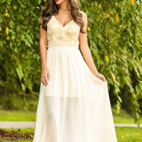 Bed Of Roses Maxi Dress-Ivory