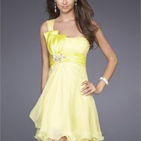 One Shoulder Empire Waist With Beaded Broach Short Prom Dress PD1922