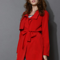 Jubilant Red Belted Trench Coat Red