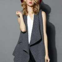 Knitted Grey Open Cardigan with Waterfall Drape Grey S/L