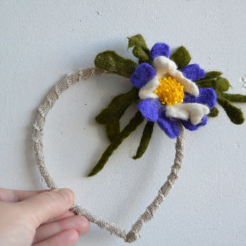 Headband Purple Flower and Green Leave, Unique Embroidered Wool Felt Hair Accessory, Whimsical Flower Fashion Headband