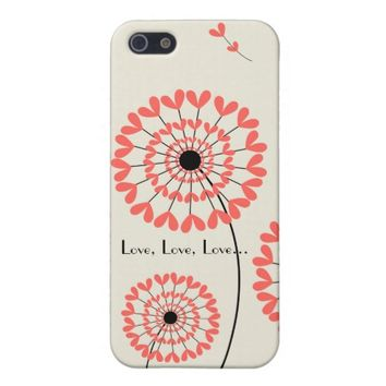 Red dandelions heart-shaped petals Iphone 5 case
