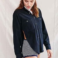 Urban Renewal Recycled Overdyed Curved-Hem Flannel Shirt - Urban Outfitters