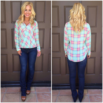Ashley Wrap Front Plaid Top - MINT