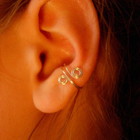 Set of 3 ear cuffs, antique brass, silver and hematite
