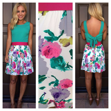 April Showers May Flowers Dress - TEAL