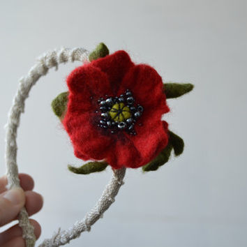 Headband Dark Red Poppy, Unique Embroidered Wool Felt Hair Accessory, Flower Fashion Headband