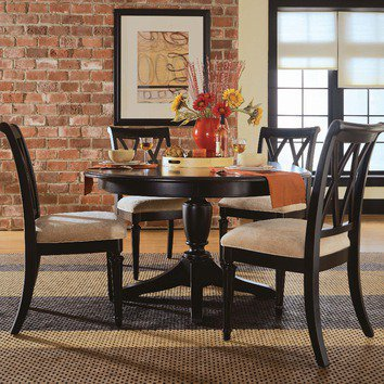 American Drew Camden Black 7 Piece Round Dining Table Set in Black