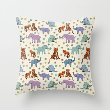 Daisies, Tigers and Elephants Throw Pillow by TigaTiga Artworks