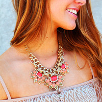 We'll Never Be Royals Statement Necklace - Coral