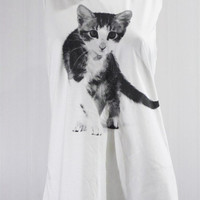 CAT Kitten Kitty Face Cat Feline Animal T-Shirt Pet Shirt Cat Tank Top White Shirt Tunic Top Vest Women Sleeveless Singlet Cat Shirt Size S