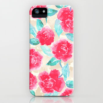 Cottage Peonies Pink iPhone & iPod Case by Jacqueline Maldonado