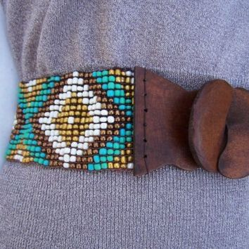 Tribal Beaded Belt Turquoise Gold Ivory Bronze Bohemian Beads OSFM NEW