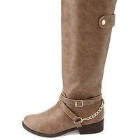 BELTED CHAIN HARNESS KNEE-HIGH RIDING BOOTS