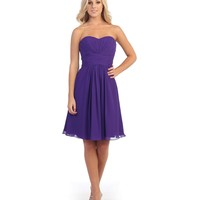 Purple Pleated Chiffon Strapless Sweetheart Dress Homecoming 2014 - Homecoming | Unique Prom