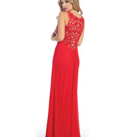 Red & Nude Lace & Chiffon Long Gown Homecoming 2014 | Unique Prom