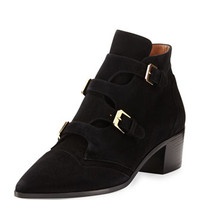 Laurence Dacade Buckled Suede Pointed-Toe Bootie