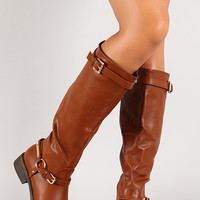 Harness Buckle Almond Toe Knee High Riding Boot
