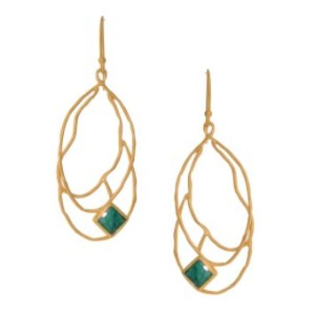 Gold Square Stone Branch Pendant Earring