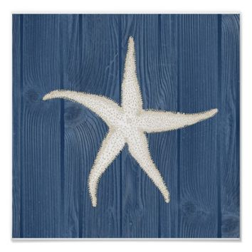 Starfish Vintage Blue Wood Beach Poster