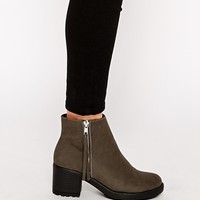 River Island Grey Tassel Zip Ankle Boots at asos.com