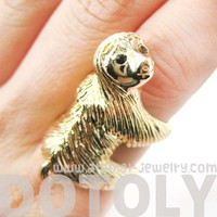 Large Sloth Animal Hug Wrap Ring in Shiny Gold - US Sizes 4 to 9