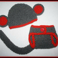 Gray and Red Sock Monkey Baby Diaper Cover and Baby Hat Baby Shower With Ears and Tail